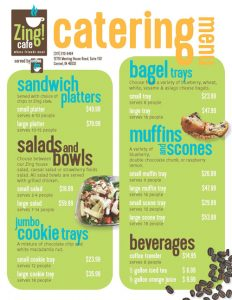 Zing! Catering Menu | Zing! Café by Coffee Zon | Village of WestClay | CC Holdings